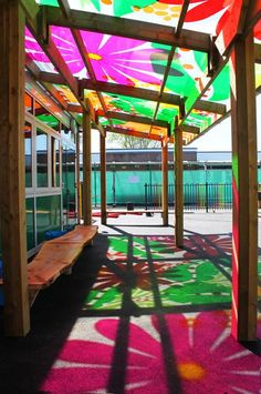 Bespoke outdoor school canopies and colourful school playground shelters to protect children from the elements and create intruiguing play spaces. Reggio Emilia, Playground Design, Outdoor Playground, Toddler Playground, Playground Set, Outdoor School, Outdoor Classroom, Classroom Window, Outdoor Areas