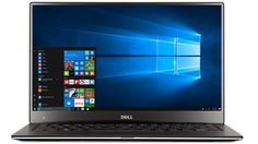 Dell laptop facing front with Windows 10 start menu open on screen