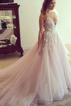 V-neck Long Wedding Dress with Appliques Sheer Back Wedding Gown SW31