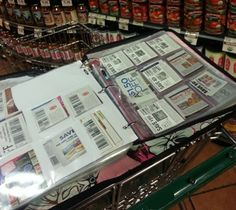 Binders sit atop your shopping cart, giving you a table to work on while you shop.