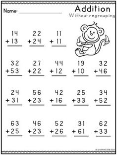 2 Digit Addition Without Regrouping-Distance Learning 2 Digit Addition without Regrouping Worksheets Math Addition Worksheets, Math Practice Worksheets, First Grade Math Worksheets, Printable Math Worksheets, Second Grade Math, Kindergarten Worksheets, Money Worksheets, Math Sheets, Math For Kids