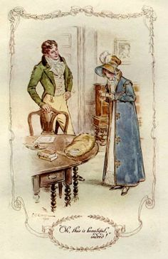 Miss Jane Home- The illustrations showed are from the Mansfield Park edition illustrated by Charles Edmund Brock a famous book illustrator who signed his work C.E. Brock. He was born on 5 February 1870 in Holloway, London.