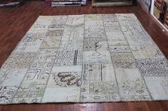 Overdyed Handmade Turkish Patchwork Carpet Beige - Vintage Overdyed ...