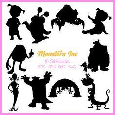 Disney Font Free, Disney Love, Disney Art, Disney Fonts, Disney Shirts, Sully And Boo, Machine Silhouette Portrait, Disney Silhouette Art, Monsters Inc Baby Shower