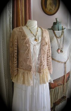 Romantic Vintage Crocheted Sweater with wide ruffled lace hem, beige,  altered couture piece by TatteredDelicates