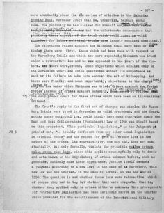 """The Hannah Arendt Papers at the Library of Congress Books --- From Eichmann in Jerusalem, """"Epilogue,"""" The Hannah Arendt Papers (The Library of Congress Manuscript Division)."""