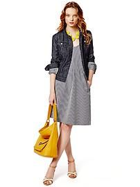 I could do my gray tee shirt dress, denim jacket, and yellow bag!