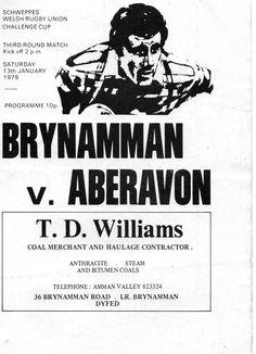 13 Jan 1979 BRYNAMMAN v ABERAVON Schweppes Cup. Rugby