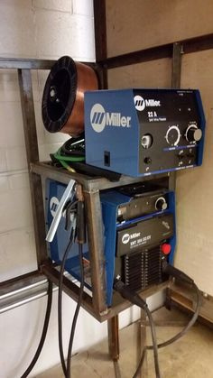 Miller XMT 304 with wire feeders.  Tig torches not shown.  Total of 12 in shop.