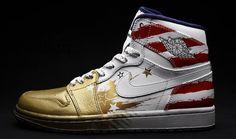 Air Jordan 1 Retro Custom - American Flag Custom Paint, Gold Cap Toes.