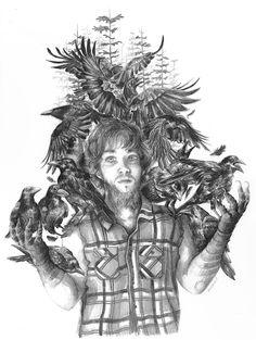 Pablo. Ilustración en grafito, realizada por Vanesa Izquierdo.
