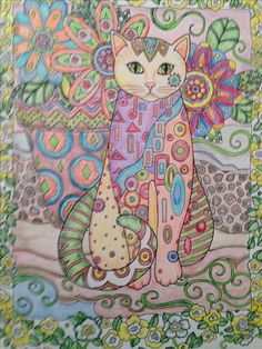 I colored this page in Creative Cats coloring book and call it Fiesta Cat.