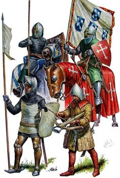 Soldiers from the Iberian Christian Kingdoms at the battle of Salado - Knight with Portuguese flag (top left) Armadura Medieval, Medieval Knight, Medieval Armor, Military Art, Military History, Renaissance Time, High Middle Ages, Landsknecht, Chivalry