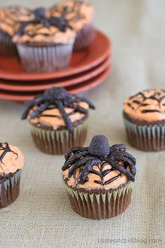 Scary spiders top these delicious chocolate cupcakes to make a treat perfect for a Halloween party.