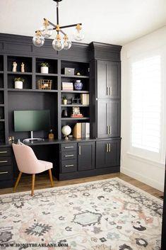 My Gorgeous DIY Office Built ins Reveal - Honeybear Lane, Office Nook, Home Office Space, Home Office Design, Home Office Decor, Home Decor, Office Designs, Office Ideas, Office Cabinet Design, Diy Office Desk