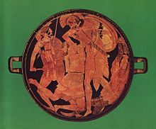 Achilles kills Penthesilea in the tondo of an Attic red-figure kylix, 470–460 BCE, found at Vulci