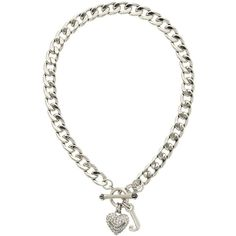 Pave Silver Starter Necklace ($40) ❤ liked on Polyvore featuring jewelry, necklaces, accessories, juicycouture, silver, rhinestone heart necklace, juicy couture necklace, silver crown necklace, crown jewelry and silver necklace