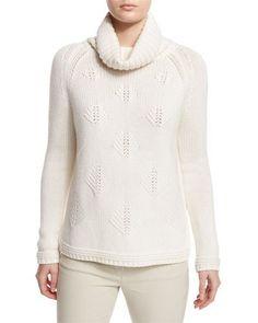 W0DSS Loro Piana Cashmere Christmas Tree Cowl-Neck Sweater, White