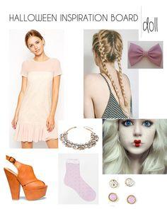 halloween inspiration board - asos baby doll dress in blush pink, doll make up, halloween make up, steve madden sling backs, big pink bow, doll bow, hair bow, ruffle socks, doll hair, dolly halloween
