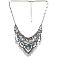 Decree Silver-Tone Boho Statement Necklace (£11) ❤ liked on Polyvore featuring jewelry, necklaces, boho, multi color necklace, long necklaces, colorful statement necklace, boho jewelry and colorful necklaces