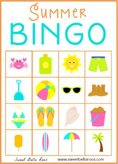 Free download of Summer Bingo printable. 10 cards in the set. Great boredom buster for kids!