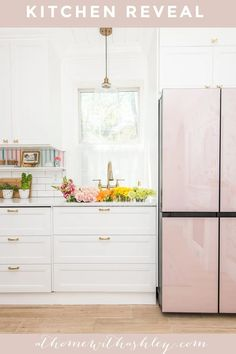 one room challenge kitchen reveal. Ideas for dining room and kitchen interior remodel with new cabinets. Colorful decor with pink accents and rainbow wallpaper. A modern take on a traditional cozy space. Before and afters Home Improvement Projects, Home Projects, Diy Home Repair, Rainbow Wallpaper, New Cabinet, Cozy Room, Pink Accents, Love Home, Frugal Living