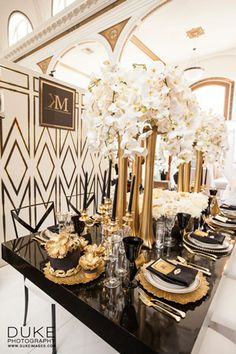 black and gold decorations, Kat Minassi Events wedding planner
