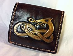 Celtic Knotwork Wallet  Gold and Chocolate by WorldofLeathercraft, $76.00