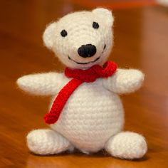 Lino the polar bear, corcheted and felted