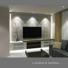 Risultati immagini per décoration sous-sol salon Basement Living Rooms, Living Room Tv, Home And Living, Small Living, Tv Wall Design, House Design, Home Theather, Tv Wall Decor, Wall Mounted Tv