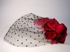 Haarklammer Tüll weinrote Blüte von Mialine auf DaWanda.com