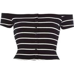708eb569e669ae River Island Black Stripe Ribbed Bardot Top in Black - Lyst