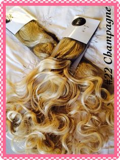 "#22 Champagne Curly 28"" 3 Connecting Wefts of 12"" Width https://m.facebook.com/rapunzelshairboutique"