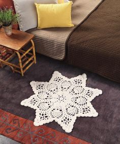 ISSUU - Crochet at home by Irini Fotiadi...Chunky doily rug..this is the perfect size for in front of my chair!...Free crochet pattern!