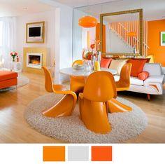 decoracion comedor naranja verde - Buscar con Google