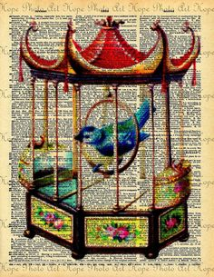 Vintage Birdcage Dictionary Digital Collage Sheet by HopePhotoArt, $2.49