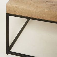 This furniture product is made of PEFC certified wood. This label guarantees that the wood comes from a responsibly managed forest; Leather Ottoman Coffee Table, Solid Oak Coffee Table, Black Metal, Entryway Tables, Wood, Furniture, Home Decor, Solid Oak, Coffee Tables