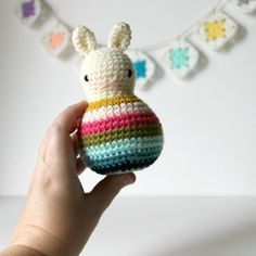 roly poly rabbit blossom .. baby rattle by HappyLittleHeartToys