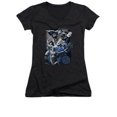 Justice League - Galactic Attack Nebula Junior V-Neck T-Shirt