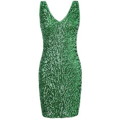 PrettyGuide Women's Sexy Deep V Neck Sequin Glitter Bodycon Stretchy... ($10) ❤ liked on Polyvore featuring dresses, sexy cocktail dresses, sexy mini dress, sexy dresses, glitter bodycon dress and green dress