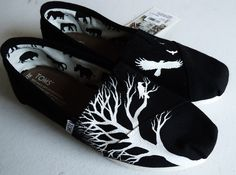 Black Ravens and Tree TOMS by LamaLand on Etsy