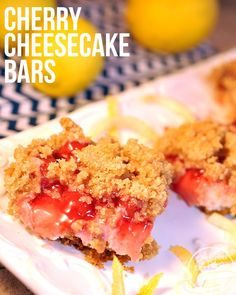 Cherry Cheesecake Bars - These Cherry cheesecake bars have a cruncy graham cracker crust and a streusel topping, that I think you'll love!