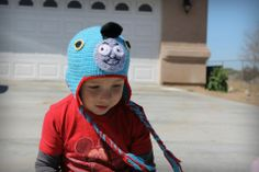 Crochet Thomas the Tank engine train hat.