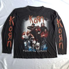 Vintage 90s KoRn Follow the Leader T-Shirt  #vintage #90s #KORN #FollowTheLeader #NuMetal #Hardcore #Metal #LongSleeve #Shirt #Black #XL