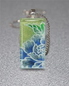 Chiyogami Glass Tile Necklace Blue Beauty with Petite Rolo Chain | ViaDellaRosa - Jewelry on ArtFire