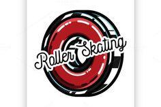 Color vintage roller Skates emblem @photoshoplady