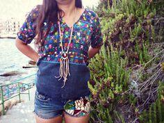 Wanderer collar ajustable de cuero con flecos cuero tono por Amanur