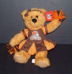 "Cleveland Browns Cheerleader Teddy Bear Orange Plush 10"" Good Stuff NFL NEW #GoodStuff #ClevelandBrowns"