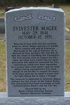 "Grave of Sylvester Magee, ""The Last American Slave."" Pleasant Valley Cemetery, Foxworth, Mississippi."