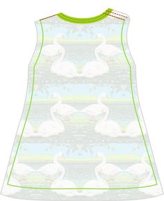 Materialen:   * Tricot -  De Melkbrigade - Summer Swans Jersey  (Stofbreedte: 155 cm) ( jurkje )   50 cm ( maat 56 t/m 86 )   100...